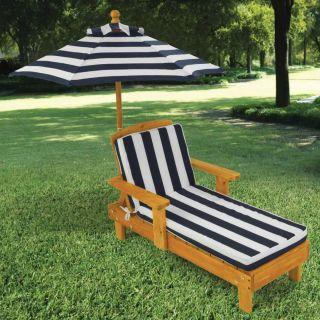 Chaise longue avec parasol - Bleu marine