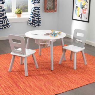 Ensemble table ronde avec rangement + 2 chaises - Gris et blanc