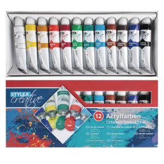 Jouet-Plus Lot de 12 tubes de peinture acrylique 12ml
