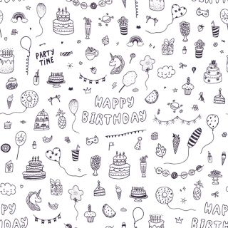 Wrapping Paper Color-in Unicorn Party, 4m