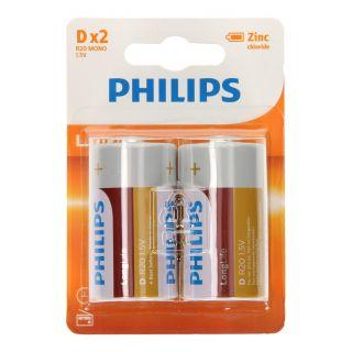 Philips Pile Longlife D / R20, 2pcs