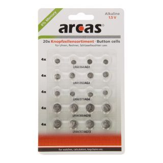 Jouet-Plus Pack de 20 piles bouton Arcas AG1-AG13