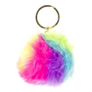 Jouet-Plus Porte clés boule fourrure multicolore, 12pcs