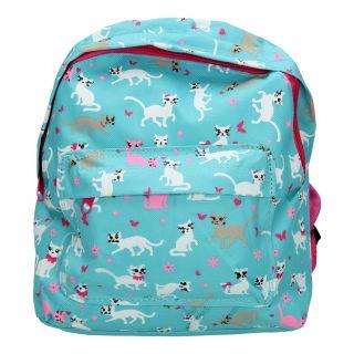 Jouet-Plus Sac à dos bleu avec des chats pour enfants, 32cm