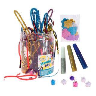Jouet-Plus Loisirs créatifs pour enfant, Set pompons perles papier mousse paillettes cœurs colle