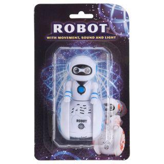 Jouet-Plus Mini Robot blanc en mouvement avec son et lumière