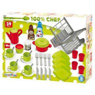 Ecoiffier 100% Chef Dinnerware, 39dlg.