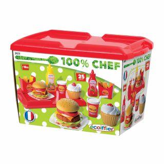 Ecoiffier 100% 25dlg Hamburgerset, Chef.