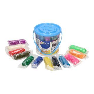 Jouet-Plus Petit seau bleu avec pâte à modeler colorée, 12 pcs