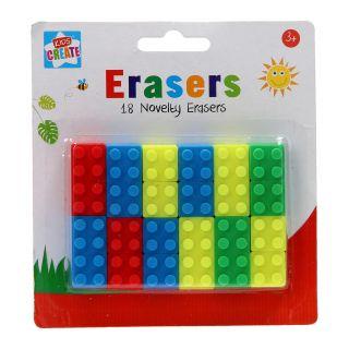 Jouet-Plus Gommes Cubes de construction, 18 pcs