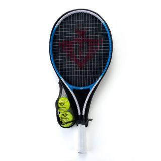 Jouet-Plus Raquette de tennis avec manchon et 2 balles - bleu