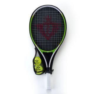 Jouet-Plus Raquette de tennis avec manchon et 2 balles - verte