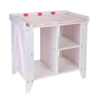 Jouet-Plus Commode pour poupées bois blanc / rose