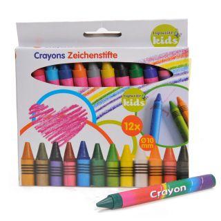 Jouet-Plus Crayons de couleur gras, 12pcs, modèle aléatoire 31977