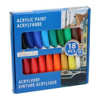 Jouet-Plus Peinture acrylique, 18pcs, modèle aléatoire 52794