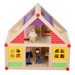 Wooden Dollhouse, 11 pcs.