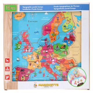 Wooden Puzzle Europe, 18pcs.