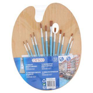 Paint Brushes with Wooden Painter's Palette, 13 pcs.