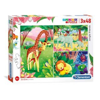 Clementoni Brilliant Puzzle Jungledieren, 3x48st.