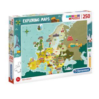Clementoni World Map Puzzle Sightseeing, 250pcs.