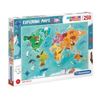 Clementoni World Map Puzzle Animals, 250st.