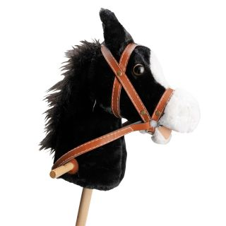 Wooden stick horse with Sound-black