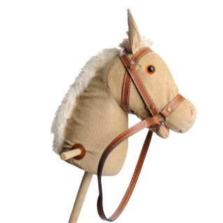 Wooden stick horse with sound-White