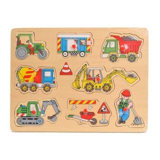 Jouet-Plus Puzzle en bois à formes avec poignées pour bébé - Véhicules de travaux
