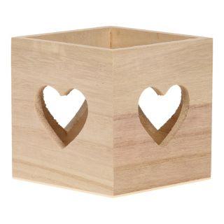 Jouet-Plus Boîte de rangement en bois avec des cœurs