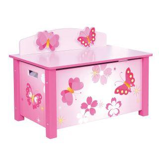 Jouet-Plus Coffre à jouet et banc en bois Papillon