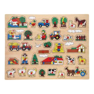 Wooden Stud Puzzle XL - Farm