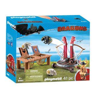 Playmobil® Dragons - 9461 - Gueulfor avec baliste lance-mouton