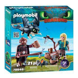 Playmobil® Dragons - 70040 - Harold et Astrid avec un bébé dragon