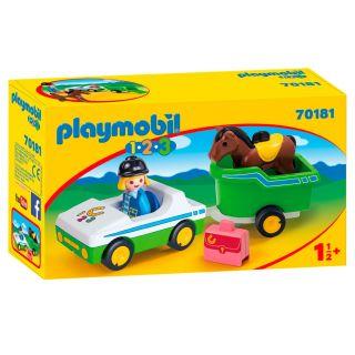 Playmobil® 1.2.3 - 70181 - Cavalière avec voiture et remorque
