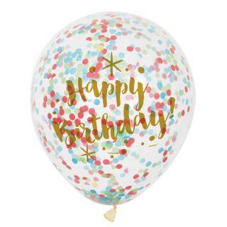 Confetti Balloons Happy Birthday, 6st.
