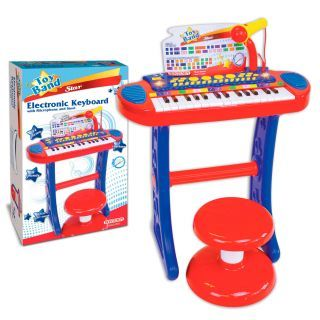 Bontempi Electronic Keyboard with Microphone and Stool
