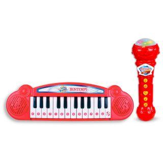 Bontempi Mini Keyboard with Karaoke Microphone - Red