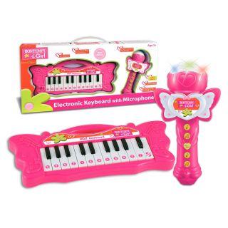 Bontempi Mini Butterfly Keyboard with Karaoke Microphone - Pink
