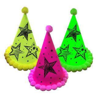 Neon Party Party Hoedjes, 3st.