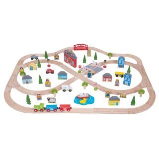 Wooden train set city and country, 101dlg.