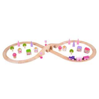 Wooden Train Set - Pink, 40dlg.