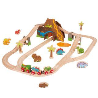 Dino wooden train set, 49dlg.