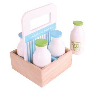 Wooden box with milk bottles, 5pcs.