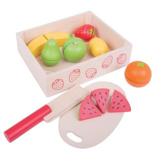 Wooden box with Cut fruit