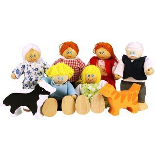 Wooden Dollhouse Family