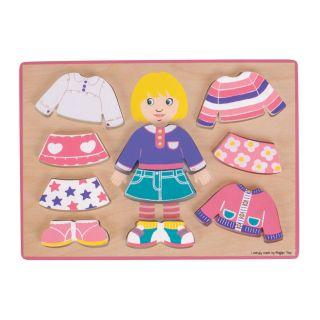 Wooden Dress Up Puzzle Girl, 10pcs.
