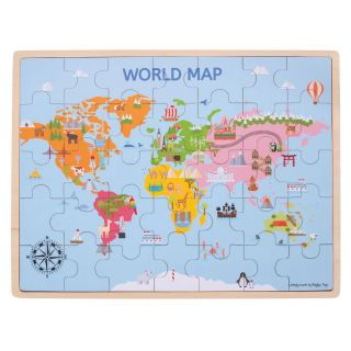 Wooden World Map Puzzle, 35dlg.