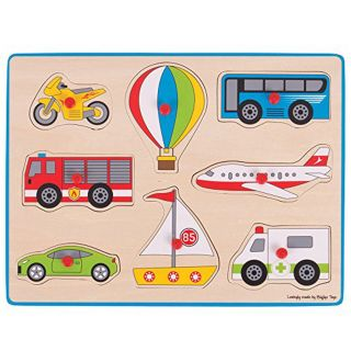 Wooden Stud Jigsaw Puzzle Vehicles, 8dlg.