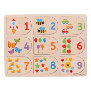Wooden Learning Puzzle Numbers, 18dlg.