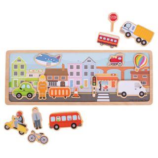 Wooden Magnet Set City, 16dlg.